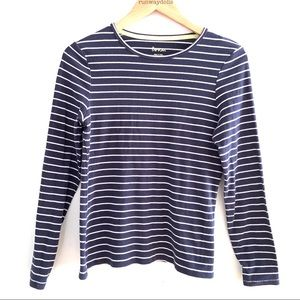 Boden | Long Sleeved Blue White Stripes Tee Small